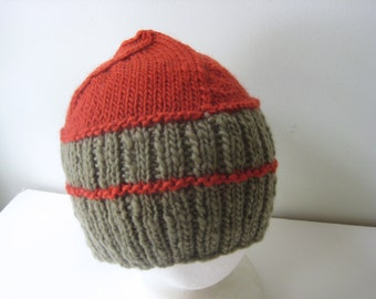 sage green and rust hand knit hat
