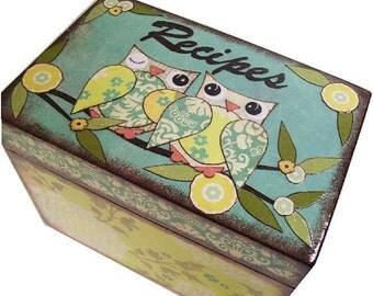 Recipe Box, Wood Recipe Box, Decoupaged Recipe Box, Bird Owl Box, Wedding Recipe Box, Bridal Shower Box, Holds 4x6 Cards, MADE TO ORDER