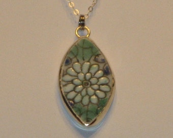 Little Flower Diamond Shaped Necklace - Petite Pottery Shard Pendant on 16 inch Sterling Silver Chain