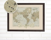 Vintage World Map Wall Art, Custom Wedding Anniversary, Pushpin Travel Map