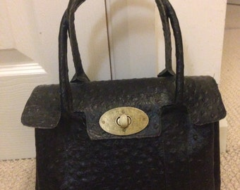 Small black ostrich embossed leather satchel