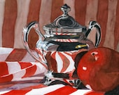 Metal Print Red in Silver still life reflections apple 5 x 7