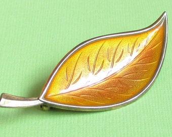 Vintage Yellow Enamel Leaf Brooch, Guilloche Enamel Brooch, Denmark Jewelry, Sterling Silver Vermeil Pin, Plant Jewelry, Nature Jewelry