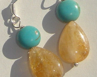 Pierced Dangle Earrings turquoise lentils and citrine teardrops hand made wire wrapped pierced dangle earrings by Ziporgiabella