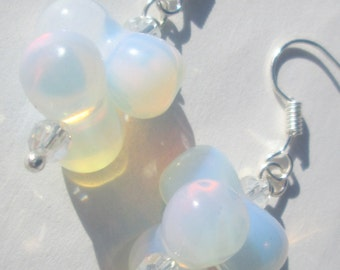 large opalite peanuts and sparkly crystal bead pierced dangle hand made earrings by Ziporgiabella