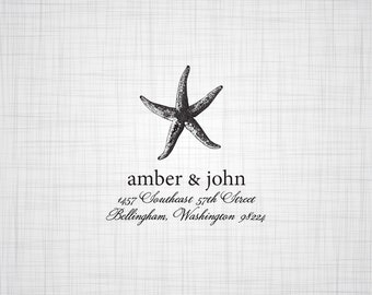 Starfish Personalized Address Stamp, Return Address Stamp, Self Inking Stamp, Rubber Stamp, Wedding Return Address Stamp, Custom Stamper