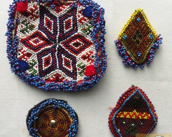 Vintage Tribal Talisman:  Kuchi Beaded Remnant Amulet/Gul I Peron Set #18