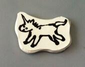 Ceramic magnet prancing unicorn