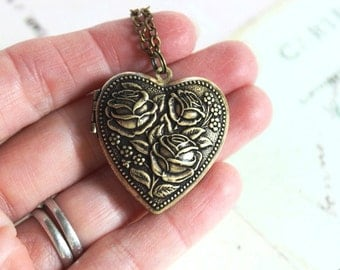 rose heart. locket necklace. brass ox jewelry