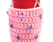 Rose Pink With Hot Purple Polka-Dots Crocheted Can Cover