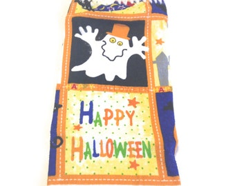 Happy Halloween Hand Towel With White Crocheted Top