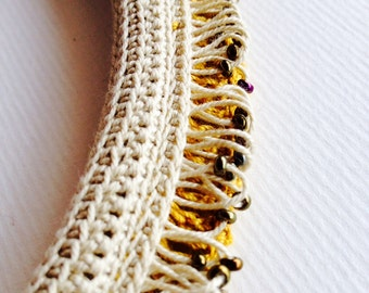 Ochre Necklace with Ecru graded fringe Crochet Freeform