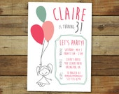 balloon birthday party invitation - stick figure party invitation, birthday party invitation, printable party invitation