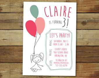 balloon birthday party invitation - stick figure party invitation, birthday party invitation, printable party invitation