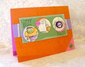 Halloween Card, Happy Boo Trick or Treat Card, blank inside, orange, purple, green, pink, Fall Autumn Holiday Card