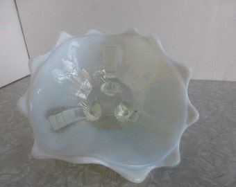 Opalescent White Footed Candy Dish Northwood Jackson Klondyke 1800s