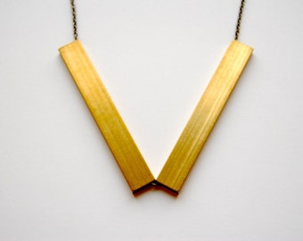 SALE - Brass Angle Necklace - FREE US Shipping