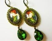 Rosetti Earrings - Green Earrings - Gift for her - Preraphaelite Jewelry - Olive green tourmaline - romantic earrings - Redhead jewelry