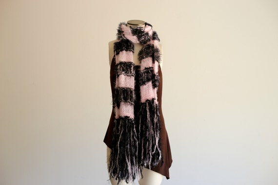 Blanket Scarf French Style Pale Pink, Black Soft French Scarf French Stripes Parisian Wrap