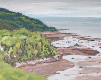 """Art Plein Air Landscape Oil Painting Original  Seascape Ocean View  Low Tide By Fournier """" The Dunes, Tadoussac Quebec, Canada """" 14"""" x 18"""""""