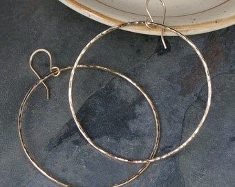 Large Eternity Earrings, 14k Gold Filled Hoops, Round Hammered Texture Dangle Hoops, 14 Karat Gold Filled, Round Minimalist, French Ear Wire