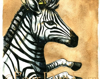 Zebra Queen 8x10 hand painted print