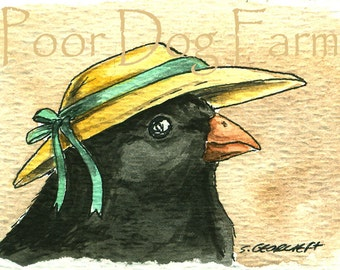 A Lady Junco in a Hat - Original ACEO Painting
