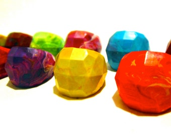 Geodome Crayon Ring-Recycled Rainbow Crayons - Set of 2 Recycled Crayons