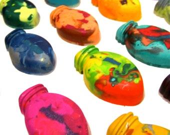 Kids LIGHT Crayons - Christmas Light Crayons - Mini Christmas Light Rainbow Crayons (Set of 4 Recycled Crayons) Stocking Stuffer