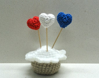 Patriotic applique hearts top cake hearts small crocheted hearts  red blue and white 4th of July independence USA hearts