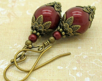 Earrings, Handmade in the Victorian Jewelry style with Wine Red Swarovski Pearls, Burgundy, Bordeaux, Artisan, American Made