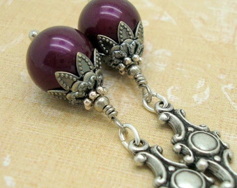 Blackberry Purple Swarovski Pearl and Silver Drop Earrings in an Art Nouveau Style