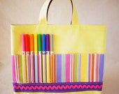Coloring Purse Crayon Bag Crayon Tote READY to SHIP ARTOTE in Banana Cabana