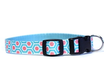 5/8 or 3/4 Inch Wide Dog Collar with Adjustable Buckle or Martingale in HoneyComb Coral