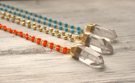 Long Bohemian Necklace, Bohemian, Colorful, Color, Crystal Quartz Pendant, Quartz Point Gold Cap, Orange Turquoise Bead Pendant Necklace 30""