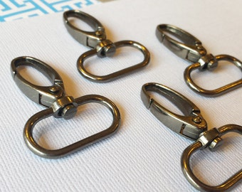 FREE SHIPPING--20 Gunmetal Swivel Clasps Hooks with 1 inch loop end