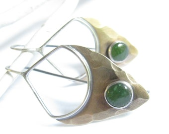 Jade Earrings, Pixie Earrings, Mixed Metal Earrings, Small Earrings, Dangle Sterling Silver Earring, Jade And Bronze Earrings, Jade Jewelry