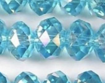 Abacus  beads crystals 6x8 mm blue glass crystal beads large    czech  quantity 20    NYB  Abacus