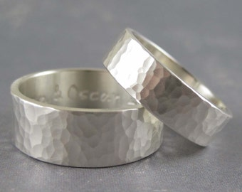 Hammered sterling silver wedding band with custom inscription - Reflections custom ring - choice of widths available