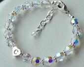 Flower Girls --  Swarovski Crystal, Initial , Personalized Children  Bracelet, Bridesmaids Gifts Bracelet, Flower Girl Bracelet