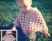 Baby Item...Crocheted Poncho with Hat... 3months to 6 months***Best for car-seats***