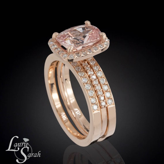 Pink Sapphire Engagement Ring, Rose Gold Wedding Ring, Diamond Ring, Diamond  Halo Engagement