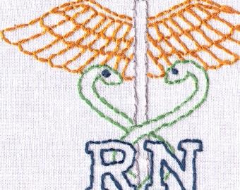 Hand Embroidery Pattern-RN-Medical Personal Badge-Registered Nurse-Nursing