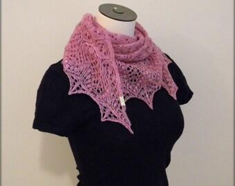 Hand Knit Lace Shawl - Scarf - Purple baby merino