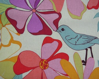 Fabric - Valori Wells, Birds, Garden, Botanical Print, Colourful, Large Flowers, Sewing, Quilting, Crafts