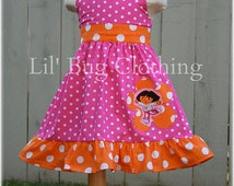 Dora The Explorer Dress, Dora Pink and Orange Polka Dot Birthday Girl Dress, Pink Orange Polka Dot Dress Outfit