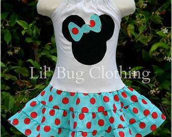 Custom Boutique Clothing Teal And Red  Polka Dot Minnie Mouse Tiered Halter Dress