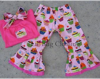Custom Boutique Pink Cupcake Spring Summer Capri And Halter Top 3m 6m 9m  12 18 24 2t 3t 4t 5t 6 7 8 9 10