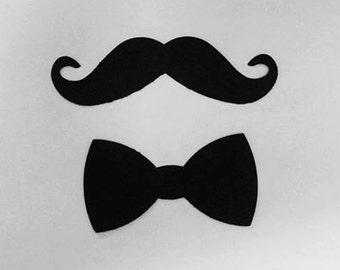 300 Pack Mustache and Bowtie die cut shapes, mustaches, bowties, mustache party, mustache decor, mustache cut outs, mustache bash, party