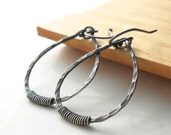 Oxidized Sterling Silver Hoop Earrings, Rustic Hammered Silver Hoops